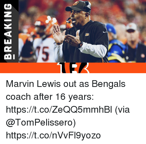 Memes, Bengals, and 🤖: BREAKING Marvin Lewis out as Bengals coach after 16 years: https://t.co/ZeQQ5mmhBl (via @TomPelissero) https://t.co/nVvFl9yozo
