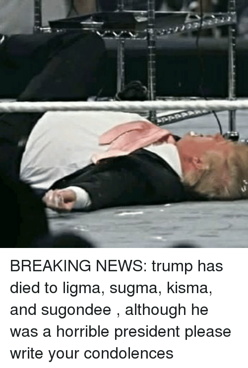 News, Breaking News, and Condolences: BREAKING NEWS: trump has died to ligma, sugma, kisma, and sugondee , although he was a horrible president please write your condolences