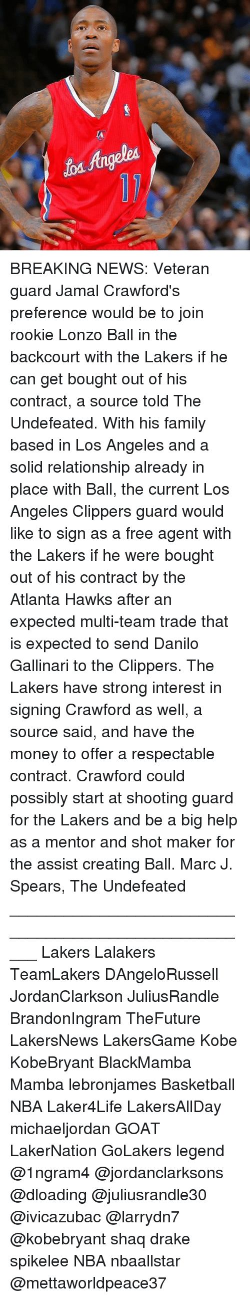 Atlanta Hawks, Basketball, and Drake: BREAKING NEWS: Veteran guard Jamal Crawford's preference would be to join rookie Lonzo Ball in the backcourt with the Lakers if he can get bought out of his contract, a source told The Undefeated. With his family based in Los Angeles and a solid relationship already in place with Ball, the current Los Angeles Clippers guard would like to sign as a free agent with the Lakers if he were bought out of his contract by the Atlanta Hawks after an expected multi-team trade that is expected to send Danilo Gallinari to the Clippers. The Lakers have strong interest in signing Crawford as well, a source said, and have the money to offer a respectable contract. Crawford could possibly start at shooting guard for the Lakers and be a big help as a mentor and shot maker for the assist creating Ball. Marc J. Spears, The Undefeated _____________________________________________________ Lakers Lalakers TeamLakers DAngeloRussell JordanClarkson JuliusRandle BrandonIngram TheFuture LakersNews LakersGame Kobe KobeBryant BlackMamba Mamba lebronjames Basketball NBA Laker4Life LakersAllDay michaeljordan GOAT LakerNation GoLakers legend @1ngram4 @jordanclarksons @dloading @juliusrandle30 @ivicazubac @larrydn7 @kobebryant shaq drake spikelee NBA nbaallstar @mettaworldpeace37