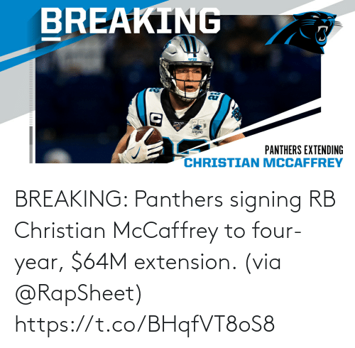 Christian: BREAKING: Panthers signing RB Christian McCaffrey to four-year, $64M extension. (via @RapSheet) https://t.co/BHqfVT8oS8