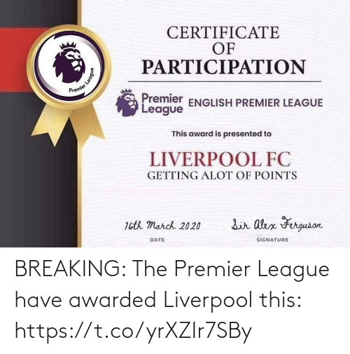league: BREAKING: The Premier League have awarded Liverpool this: https://t.co/yrXZIr7SBy
