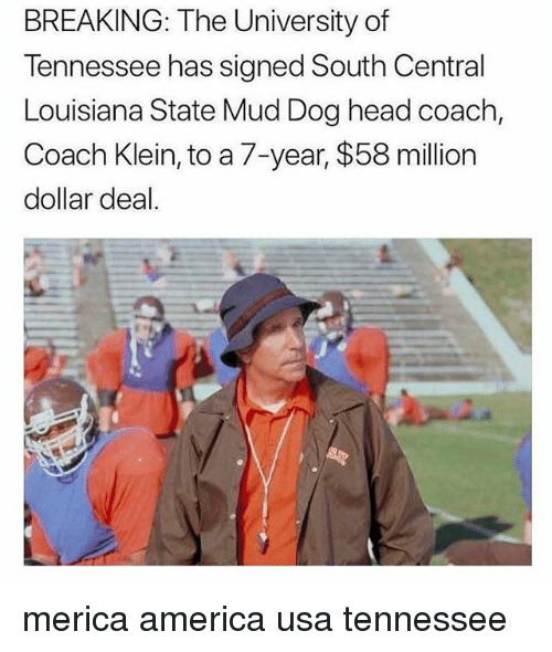 America, Head, and Memes: BREAKING: The University of  Tennessee has signed South Central  Louisiana State Mud Dog head coach,  Coach Klein, to a 7-year, $58 million  dollar deal. merica america usa tennessee