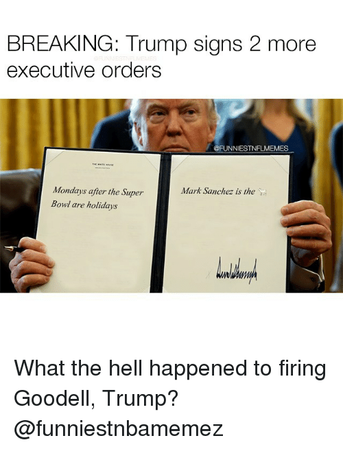 Mark Sanchez: BREAKING: Trump signs 2 more  executive orders  @FUNNIESTNFLMEMES  Mondays after the Super  Mark Sanchez is the  Bowl are holidays What the hell happened to firing Goodell, Trump? @funniestnbamemez