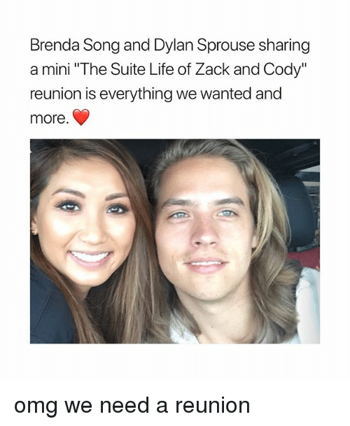 "Life, Omg, and Girl Memes: Brenda Song and Dylan Sprouse sharing  a mini ""The Suite Life of Zack and Cody""  reunion is everything we wanted and  more omg we need a reunion"