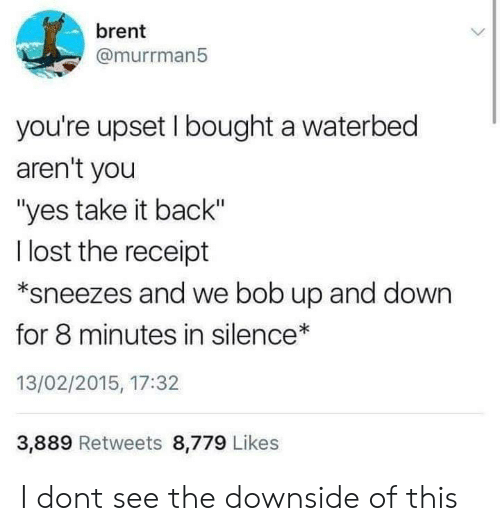 "Lost, Receipt, and Silence: brent  @murrman5  you're upset I bought a waterbed  aren't you  ""yes take it back""  l lost the receipt  *sneezes and we bob up and down  for 8 minutes in silence  13/02/2015, 17:32  3,889 Retweets 8,779 Likes I dont see the downside of this"
