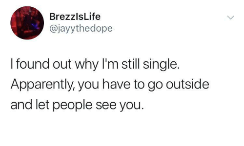 Apparently, Single, and Why: BrezzlsLife  @jayythedope  I found out why I'm still single.  Apparently, you have to go outside  and let people see you.