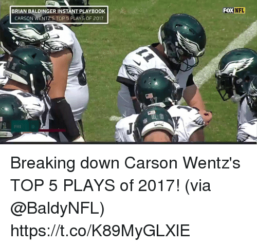 breaking down: BRIAN B  ALDING  FOXNFL  ER INSTANT PLAYBOOK  CARSON WENTZ'S TOP 5 PLAYS OF 2017  PHI0 Breaking down Carson Wentz's TOP 5 PLAYS of 2017!  (via @BaldyNFL) https://t.co/K89MyGLXlE