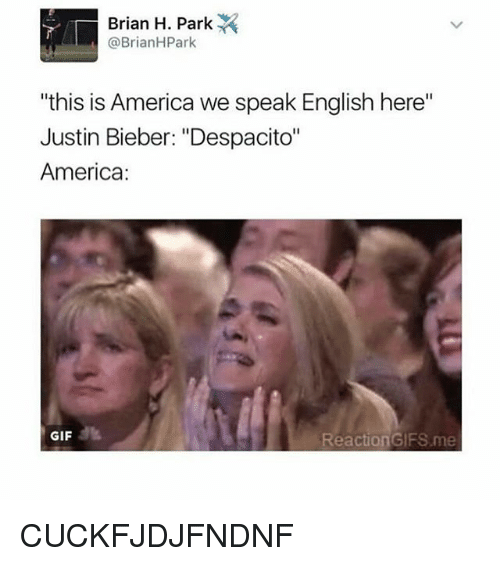 """reaction gifs: Brian H. Park  @Brian HPark  """"this is America we speak English here""""  Justin Bieber: """"Despacito""""  America  GIF  Reaction GIFS me CUCKFJDJFNDNF"""