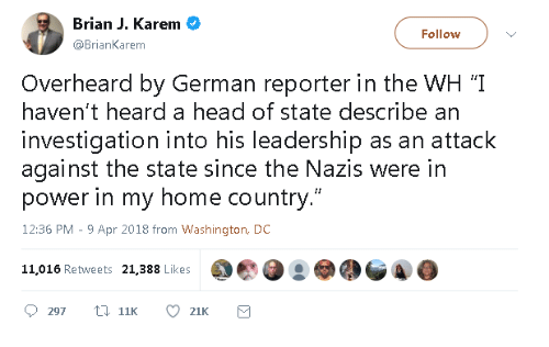 """An Attack: Brian J. Karem  @BrianKarem  Follow  Overheard by German reporter in the WH '""""I  haven't heard a head of state describe an  investigation into his leadership as an attack  against the state since the Nazis were in  power in my home country.""""  12:36 PM - 9 Apr 2018 from Washington, DC  11,016 Retweets 21,388 Likes"""