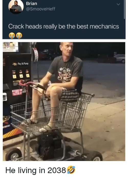 Funny, Best, and Living: Brian  @SmooveHeff  Crack heads really be the best mechanics He living in 2038🤣