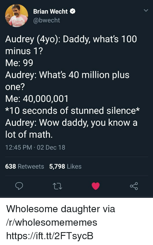 Anaconda, Wow, and Math: Brian Wecht*  @bwecht  Audrey (4yo): Daddy, whats 100  minus 1?  Me: 99  Audrey: What's 40 million plu:s  one?  Me: 40,000,001  *10 seconds of stunned silence*  Audrey: Wow daddy, you know a  lot of math  12:45 PM 02 Dec 18  638 Retweets 5,798 Likes Wholesome daughter via /r/wholesomememes https://ift.tt/2FTsycB