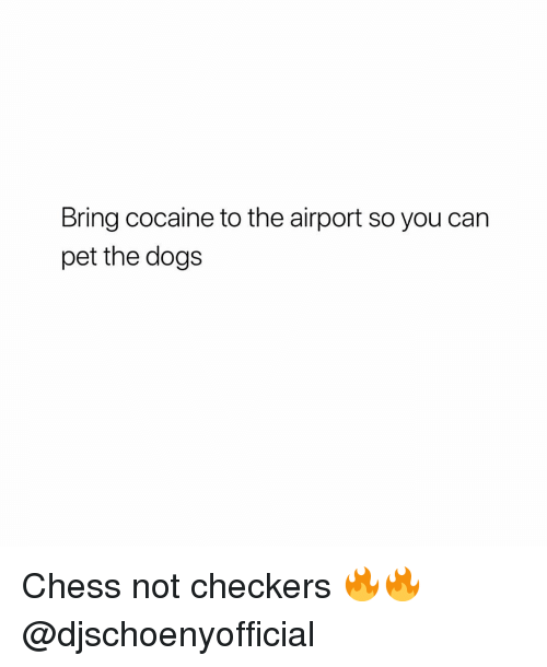 checkers: Bring cocaine to the airport so you can  pet the dogs Chess not checkers 🔥🔥 @djschoenyofficial