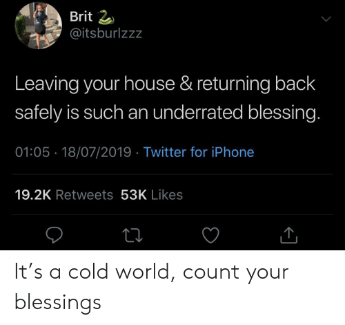 Blessings: Brit 2  @itsburlzzz  Leaving your house & returning back  safely is such an underrated blessing.  01:05 18/07/2019 Twitter for iPhone  19.2K Retweets 53K Likes It's a cold world, count your blessings