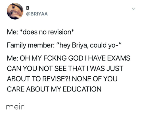 "Family, God, and Yo: @BRIYAA  Me: *does no revision*  Family member: ""hey Briya, could yo-""  Me: OH MY FCKNG GOD I HAVE EXAMS  CAN YOU NOT SEE THAT I WAS JUST  ABOUT TO REVISE?! NONE OF YOU  CARE ABOUT MY EDUCATION meirl"
