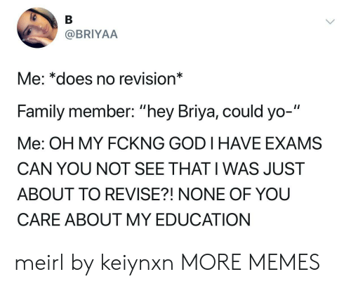 "Dank, Family, and God: @BRIYAA  Me: *does no revision*  Family member: ""hey Briya, could yo-""  Me: OH MY FCKNG GOD I HAVE EXAMS  CAN YOU NOT SEE THAT I WAS JUST  ABOUT TO REVISE?! NONE OF YOU  CARE ABOUT MY EDUCATION meirl by keiynxn MORE MEMES"
