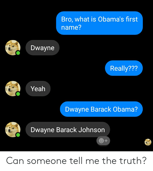Obama, Reddit, and Yeah: Bro, what is Obama's first  name?  Dwayne  Really???  Yeah  Dwayne Barack Obama?  Dwayne Barack Johnson Can someone tell me the truth?