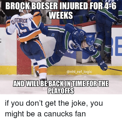Logic, Memes, and National Hockey League (NHL): BROCK BOESER INJURED FOR4-6  WEEKS  CLTERBUCK  10  @nhl_ref_logic  ANDWILL  PLAYOFFS if you don't get the joke, you might be a canucks fan