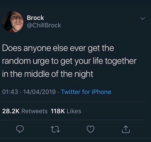 Iphone, Life, and Twitter: Brock  @ChillBrock  Does anyone else ever get the  random urge to get your life together  in the middle of the night  01:43 .14/04/2019 Twitter for iPhone  28.2K Retweets 118K Likes