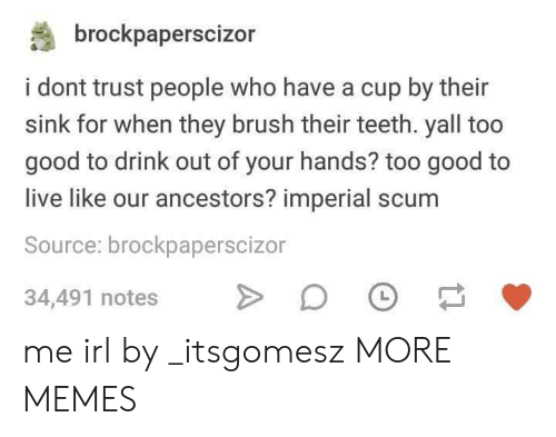 Dank, Memes, and Target: brockpaperscizor  i dont trust people who have a cup by their  sink for when they brush their teeth. yall too  good to drink out of your hands? too good to  live like our ancestors? imperial scum  Source: brockpaperscizor  34,491 notes D me irl by _itsgomesz MORE MEMES