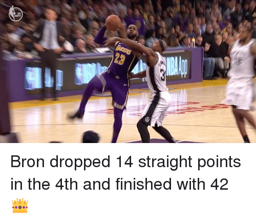 Straight, Finished, and Bron: Bron dropped 14 straight points in the 4th and finished with 42 👑