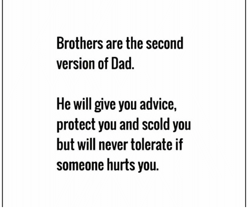 Advice, Dad, and Memes: Brothers are the second  version of Dad  He will give you advice,  protect you and scold you  but will never tolerate if  someone hurts you.