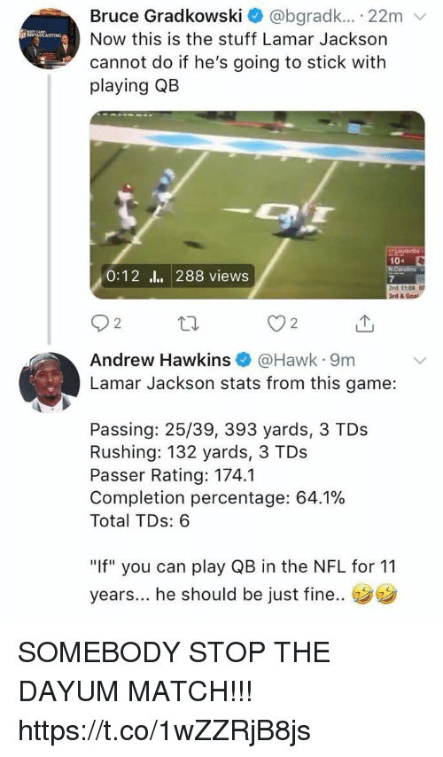"Nfl, Game, and Goal: Bruce Gradkowski * @bgradk.. . 22m  Now this is the stuff Lamar Jackson  cannot do if he's going to stick with  playing QB  0:12 l. 288 views  7  2nd 13:00  3rd & Goal  2  2  Andrew Hawkins@Hawk 9m  Lamar Jackson stats from this game:  Passing: 25/39, 393 yards, 3 TDs  Rushing: 132 yards, 3 TDs  Passer Rating: 174.1  Completion percentage: 64.1%  Total TDs: 6  ""If"" you can play QB in the NFL for 11  years... he should be  just fine.. SOMEBODY STOP THE DAYUM MATCH!!! https://t.co/1wZZRjB8js"