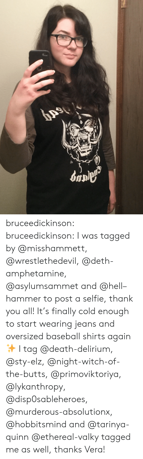 Baseball, Selfie, and Tumblr: bruceedickinson:  bruceedickinson:  I was tagged by @misshammett, @wrestlethedevil, @deth-amphetamine, @asylumsammet and @hell–hammer to post a selfie, thank you all! It's finally cold enough to start wearing jeans and oversized baseball shirts again ✨  I tag @death-delirium, @sty-elz, @night-witch-of-the-butts, @primoviktoriya, @lykanthropy, @disp0sableheroes, @murderous-absolutionx, @hobbitsmind and @tarinya-quinn  @ethereal-valky tagged me as well, thanks Vera!