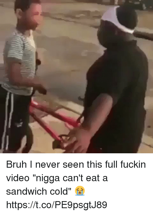 """Blackpeopletwitter, Bruh, and Video: Bruh I never seen this full fuckin video """"nigga can't eat a sandwich cold"""" 😭 https://t.co/PE9psgtJ89"""