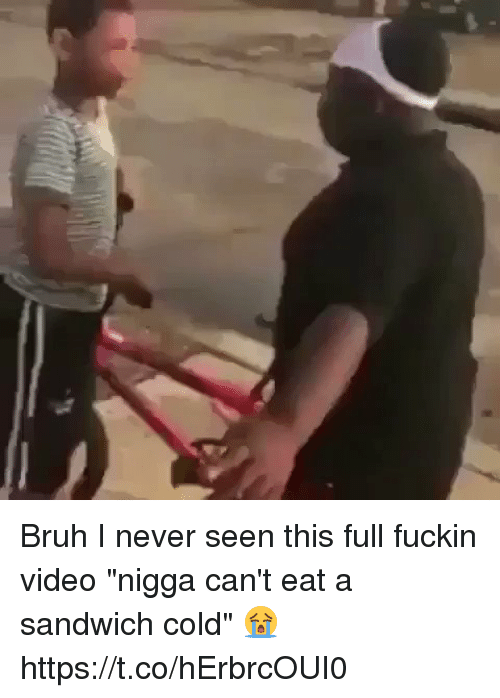 """Bruh, Memes, and Video: Bruh I never seen this full fuckin video """"nigga can't eat a sandwich cold"""" 😭 https://t.co/hErbrcOUI0"""