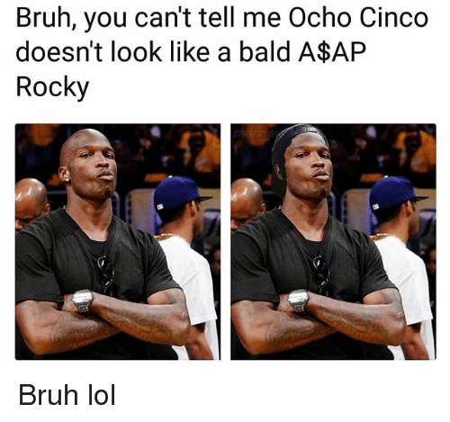 A$AP Rocky, Bruh, and Funny: Bruh, you can't tell me Ocho Cinco  doesn't look like a bald A$AP  Rocky Bruh lol