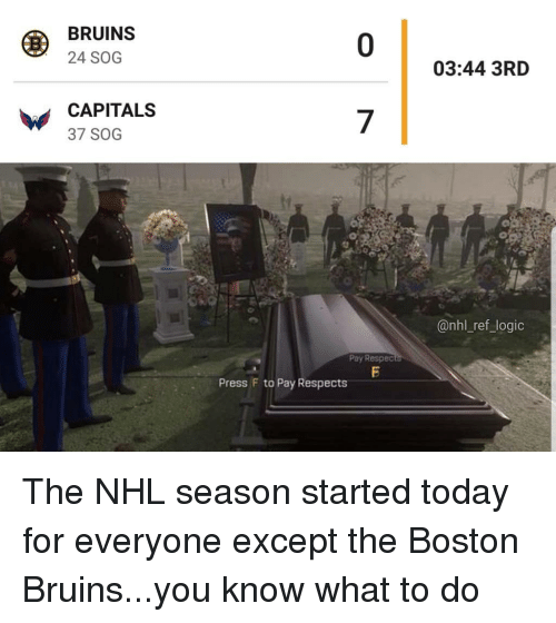 Logic, Memes, and National Hockey League (NHL): BRUINS  24 SOG  0  03:44 3RD  CAPITALS  37 SOG  7  @nhl_ref_logic  Pay Respec  Press F to Pay Respects The NHL season started today for everyone except the Boston Bruins...you know what to do