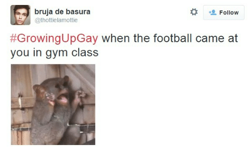 Football, Gym, and Class: bruja de basura  @thottielamottie  + Follow  #GrowingUpGay when the football came at  you in gym class