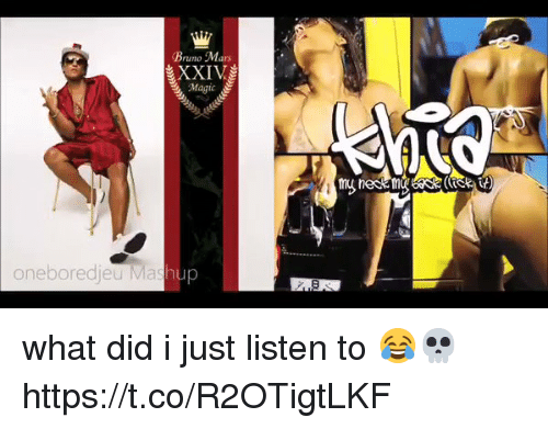 Bored, Bruno Mars, and Funny: Bruno Mars  XXIV  Magic  one bored jeu Mashup what did i just listen to 😂💀 https://t.co/R2OTigtLKF