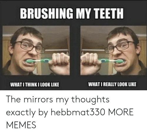 mirrors: BRUSHING MY TEETH  WHATI REALLY LOOK LIKE  WHATI THINKI LOOK LIKE The mirrors my thoughts exactly by hebbmat330 MORE MEMES