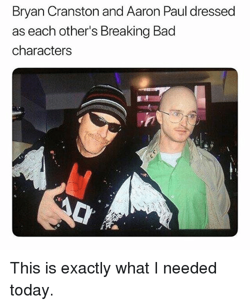 Bad, Breaking Bad, and Bryan Cranston: Bryan Cranston and Aaron Paul dressed  as each other's Breaking Bad  characters This is exactly what I needed today.