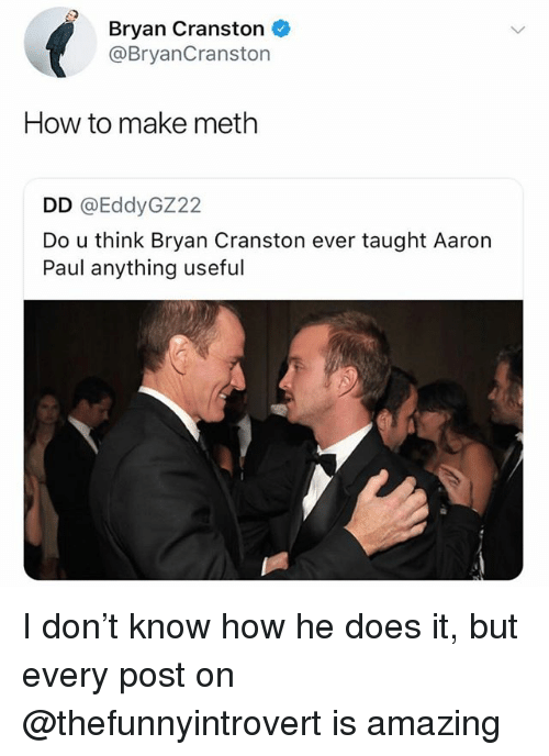 He Does It: Bryan Cranston  @BryanCranston  How to make meth  DD @EddyGZ22  Do u think Bryan Cranston ever taught Aaron  Paul anything useful I don't know how he does it, but every post on @thefunnyintrovert is amazing