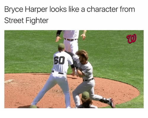 Street Fighter: Bryce Harper looks like a character from  Street Fighter  SO