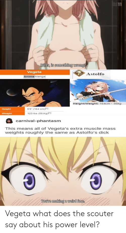 Anime, Vegeta, and Weird: BS11  Ruler, is something wrong  Vegeta  Astolfo  AnimeManga  Height/Weight: 164cm 56kg  55 (164 cm)[ 1]  Height  123 lbs (56 Kg)1  Weight  carnival-phantasm  This means all of Vegeta's extra muscle mass  weights roughly the same as Astolfo's dick  You're making a weird face Vegeta what does the scouter say about his power level?