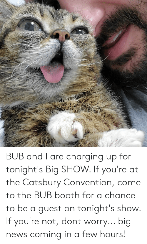 convention: BUB and I are charging up for tonight's Big SHOW. If you're at the Catsbury Convention, come to the BUB booth for a chance to be a guest on tonight's show. If you're not, dont worry... big news coming in a few hours!