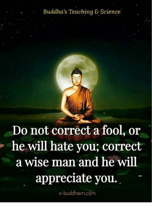Memes, Appreciate, and Science: Buddha's Teaching & Science  Do not correct a fool, or  he will hate you, correct  a wise man and he will  appreciate you.  e-buddhism com