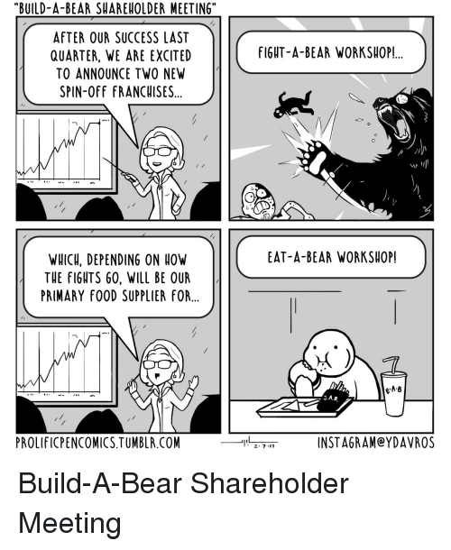 """Build a Bear: """"BUILD-A-BEAR SHAREHOLDER MEETING""""  AFTER OUR SUCCESS LAST  QUARTER, WE ARE EXCITED  TO ANNOUNCE TWO NEW  SPIN-OFF FRANCHISES...  fIGHT-A-BEAR WORKSHOP!.  st  EAT-A-BEAR WORKSHOP!  WHICH, DEPENDING ON OW  THE FIGHTS 60, WILL BE OUR  PRIMARY fOOD SUPPLIER FOR...  e-A·B  PROLIFICPENCOMICS.TUMBLR.COM  INSTAGRAM@YDAVROS Build-A-Bear Shareholder Meeting"""