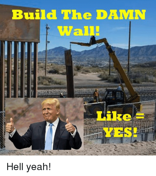 Yeah, Hell, and Yes: Build The DAMN  Wall  Like  YES! Hell yeah!