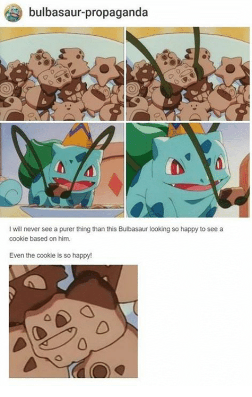 Bulbasaur, Happy, and Propaganda: bulbasaur-propaganda  I will never see a purer thing than this Bulbasaur looking so happy to see a  cookie based on him.  Even the cookie is so happy!