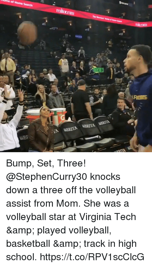 Basketball, Memes, and School: Bump, Set, Three!  @StephenCurry30 knocks down a three off the volleyball assist from Mom.  She was a volleyball star at Virginia Tech & played volleyball, basketball & track in high school. https://t.co/RPV1scClcG