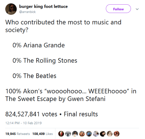 """ariana grande: burger king foot lettuc  @arranbick  Follow  Who contributed the most to music and  society?  0% Ariana Grande  ()% The Rolling Siones  090 The Beatles  100% Akon's """"woooohooo  WEEEEhoooo"""" in  824,527,841 votes Final results  12:14 PM-10 Feb 2019  19,945 Retweets 108,409 Likes"""