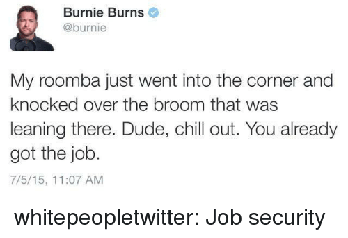 Job Security: Burnie Burns  @burnie  My roomba just went into the corner and  knocked over the broom that was  leaning there. Dude, chill out. You already  got the job.  7/5/15, 11:07 AM whitepeopletwitter:  Job security