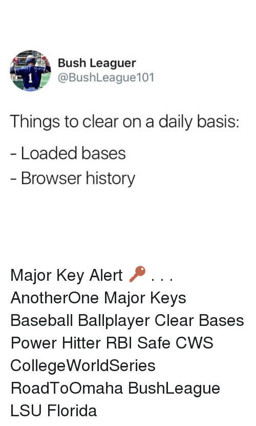 Major Key Alert: Bush Leaguer  @BushLeague101  Things to clear on a daily basis:  Loaded bases  Browser history Major Key Alert 🔑 . . . AnotherOne Major Keys Baseball Ballplayer Clear Bases Power Hitter RBI Safe CWS CollegeWorldSeries RoadToOmaha BushLeague LSU Florida