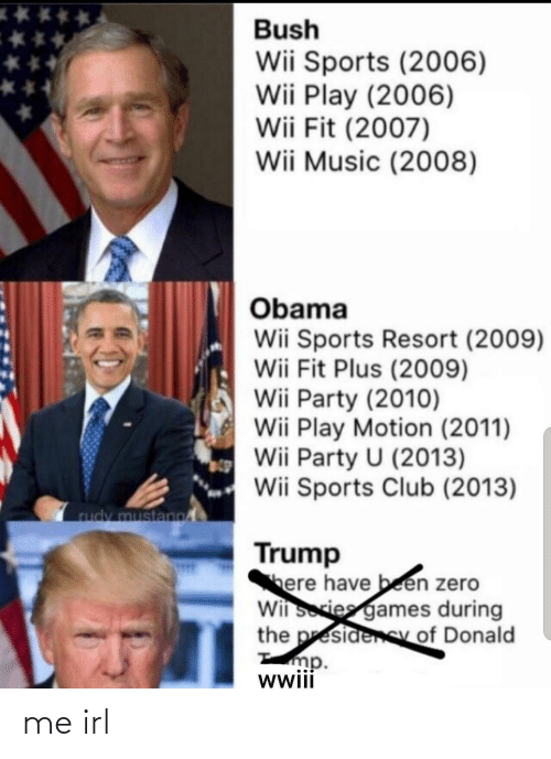 Trump: Bush  Wii Sports (2006)  Wii Play (2006)  Wii Fit (2007)  Wii Music (2008)  Obama  Wii Sports Resort (2009)  Wii Fit Plus (2009)  Wii Party (2010)  Wii Play Motion (2011)  Wii Party U (2013)  Wii Sports Club (2013)  rudy mustano  Trump  here have been zero  Wii sories games during  the presidenSy of Donald  mp.  wwii me irl