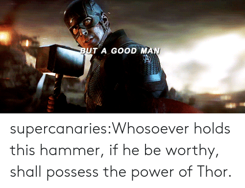 Target, Tumblr, and Blog: BUT A GOOD MAN supercanaries:Whosoever holds this hammer, if he be worthy, shall possess the power of Thor.