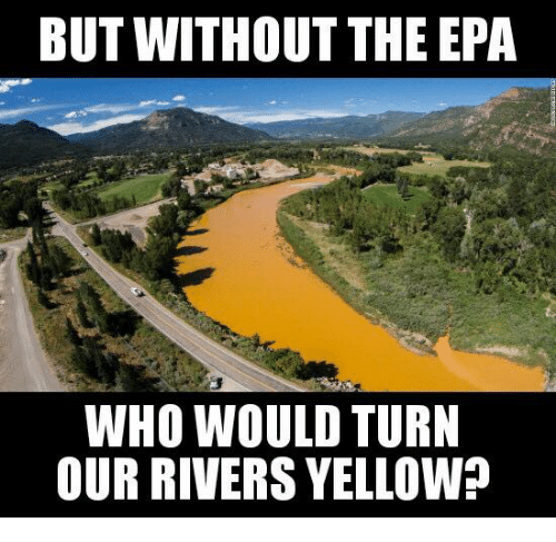 epa: BUT WITHOUT THE EPA  WHO WOULD TURN  OUR RIVERS YELLOWn